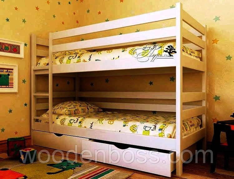 """Кровать двухъярусная детская подростковая от """"Wooden Boss"""" Денис (спальное место 90х190/200 см)"""