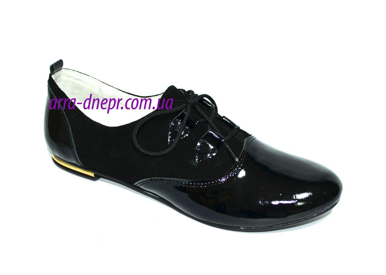 Туфли женские на шнуровке, натуральный замш и лаковая кожа.