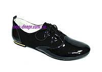 Туфли женские на шнуровке, натуральный замш и лаковая кожа., фото 1