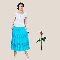 Длинная летняя юбка с широким кружевом  IN 14006  Голубой