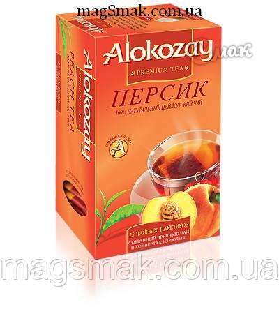 Чай Alokozay / Алокозай черный с персиком, 25 ПАК. САШЕТ