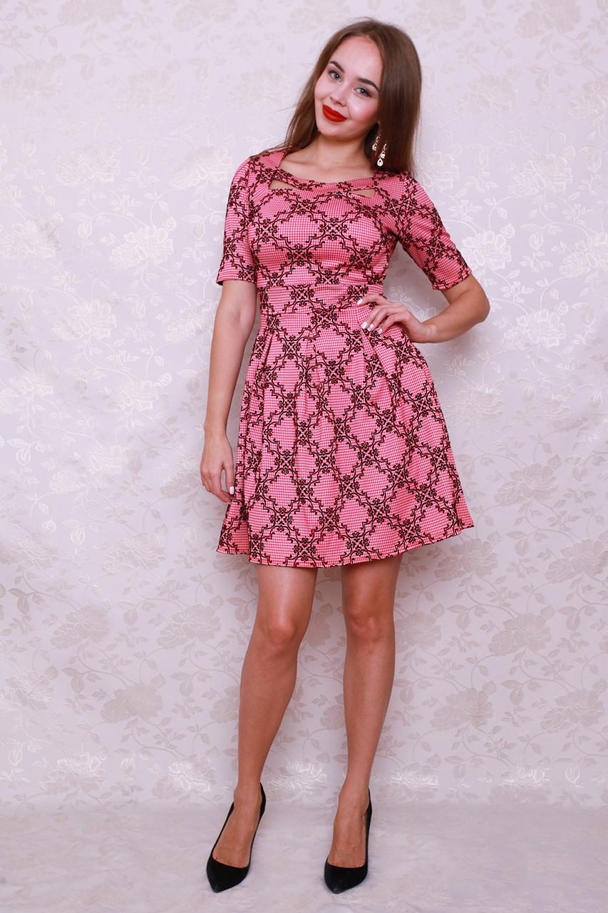 29016f9264a Красивое коктейльное платье модного фасона с пышной юбкой с рисунком флока  - Оптово-розничный магазин