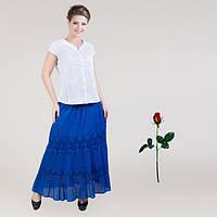 Хлопковая юбка с широкими кружевными вставками IN 14006  Синий