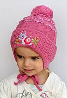 Улитка, осень-зима, двойная детская шапка, р.44-48.  белый, розовый, т.розовый, молоко