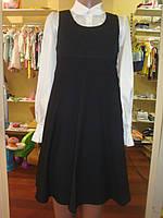 Школьная форма сарафан завышенная талия,вышивка на сеточке дев. черный 65% п/э,35% вискоза, подкл.-100% п/э SS