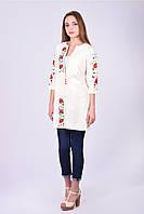 Дизайнерский женский кардиган спереди и рукава украшены красивой цветочной вышивкой
