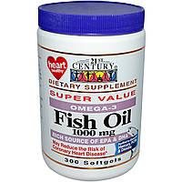 Омега-3 жирные кислоты и рыбий жир, 21st Century Health Care, 1000 мг, 300 капсул