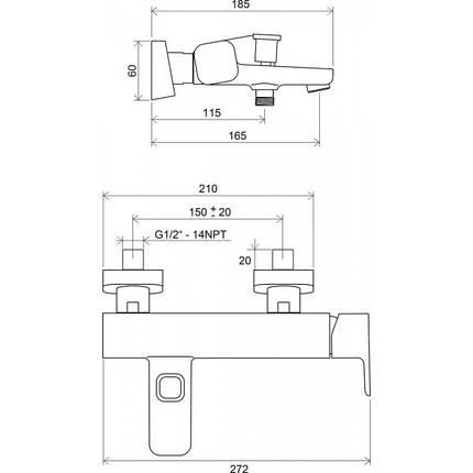 Ravak 10˚ TD 022 00 Смеситель для ванны 150 мм, фото 2