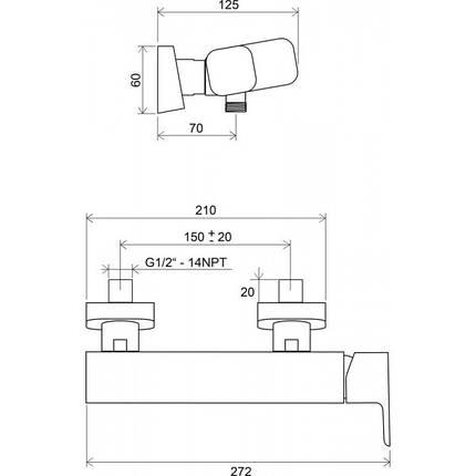 Ravak 10˚ TD 032 00 Смеситель для душа 150 мм, фото 2