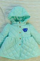 Детская Куртка на девочку мишка мята на рост 86-110см