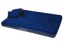 Надув.матрас Intex 68765 + ручной насос и 2 подуш.( 203 х 152 х22см).
