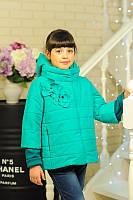 Детская Куртка на девочку Chanel цветы мята на рост 122-152см