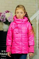 Детская Куртка на девочку Chanel цветы малина на рост 122-152см