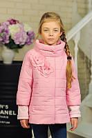 Детская Куртка на девочку Chanel цветы пудра на рост 122-152см, фото 1
