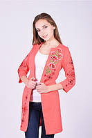 Яркий весенне-осенний кардиган в коралловом цвете машинная вышивка цветов