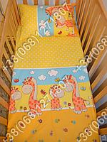 Простынь 60х120 на резинке в детскую кроватку (разные цвета)
