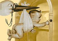 """Схема для вышивки бисером """"Аист принес ребенка"""""""