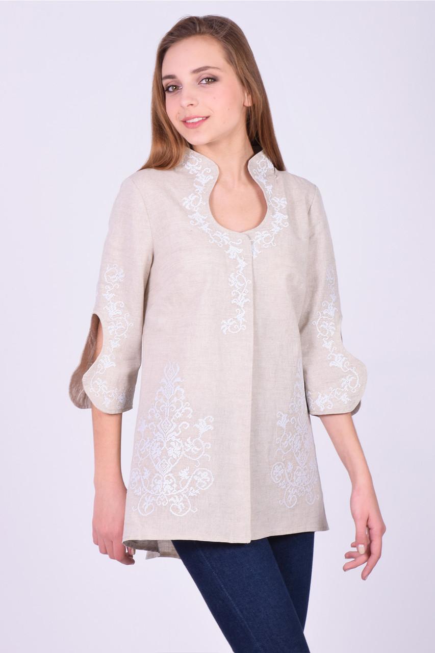 Нарядная бежевая блуза-туника из домотканого полотна свободного кроя с вышивкой