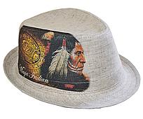 """Шляпы оптом Джокер фотопринт лен """"Индеец"""""""