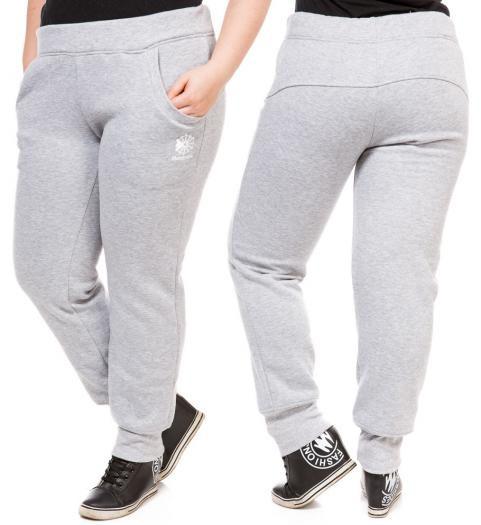 12008633 ТЕПЛЫЕ спортивные штаны больших размеров женские на флисе зимние светло  серые манжет Украина