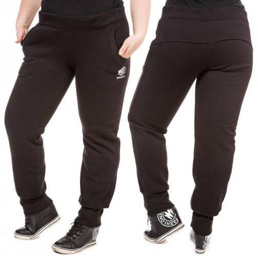 ТЕПЛЫЕ спортивные штаны больших размеров женские на флисе зимние черные манжет Украина