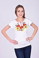 Отличная молодежная футболка вышиванка с маками и подсолнухами в белом цвете