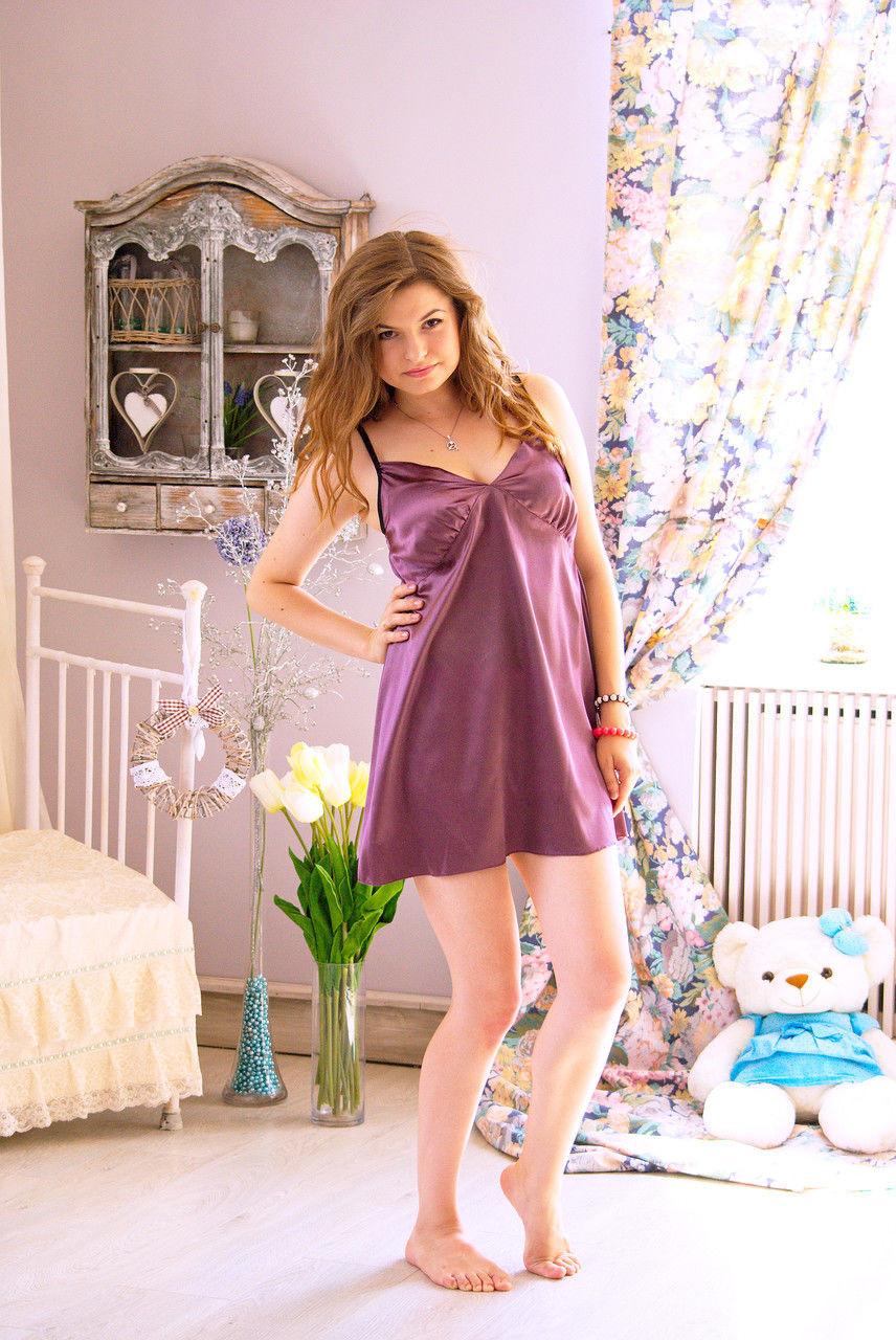Женская ночная рубашка из мягкого атласа. - Интернет-магазин одежды
