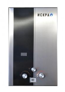 Газовый проточный водонагреватель ИСКРА со стальной черной полосой. Газовая колонка класика (10 л\мин)