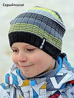 Красивая полосатая цветная вязанная шапка серый+салатовый