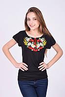 Отличная трикотажная футболка вышиванка на каждый день полевые цветы с оригинальными рукавами