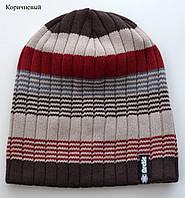 Красивая полосатая цветная вязанная шапка Коричневый