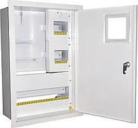 Щит ШМР-3ф.мех-24А-В распределительный металлический для 3ф. индукц. счетчика и 24 автоматов врезной