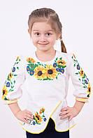 Вышитая блузочка из домотканого полотна подсолнухи с басочкой для девочек