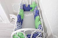 """Комплект бортиков в кроватку + простынь, """"Пазлы"""" сине-зеленый на всю кроватку"""