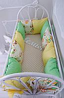 """Комплект бортиков в кроватку + простынь, """"Классик"""" Весенние Совушки на всю кроватку"""