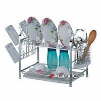 Сушилка для посуды двухъярусная с поддоном Kamille KM 0910 (550*250*365)