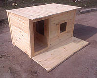 Будка для собаки с тамбуром, летней террасой и окном 1725х880х900 мм неутепленная