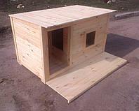 Будка для собаки с тамбуром, летней террасой и окном 1500х770х800 мм неутепленная