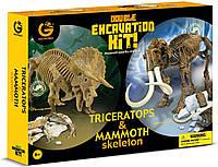 """Набор юного палеонтолога Geoworld """"Трицератопс и Мамонт"""""""