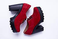 Туфли из натуральной красной замши №310-5, фото 1