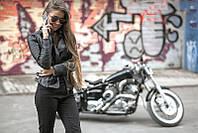 Куртка женская на молнии из кожзаменителя P1590