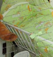 Набор в кроватку новорожденного из 6 ед.(без кармана и балдахина). Бортики (35 см) со съёмными чехлами