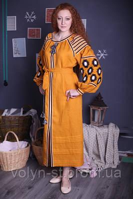 """Вышитое платье,фасон № 1 """"Ромби"""" лён"""