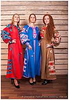 """Платье вышитое фасон № 3 """"Геометрія"""" лён ( арт. PK3.0.2-305B ), фото 1"""