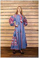 Платье с длинным рукавом,вышитое фасон № 3