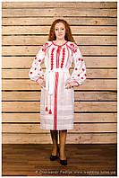 Платье белое вышивка Лего с длинным рукавом на манжете