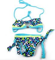 Модный купальник бандо для девочки. Цвет синий. 1.5-2 года