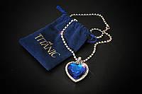 """Кулон """"Сердце океана"""" из фильма Титаник, бижутерия кулон на цепочке со стразами в форме синего сердца"""