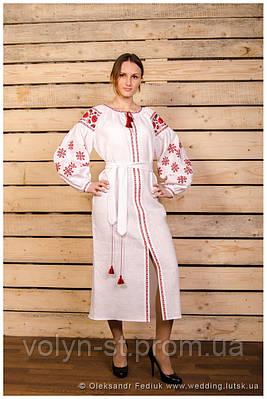 Платье с орнаментом, лён