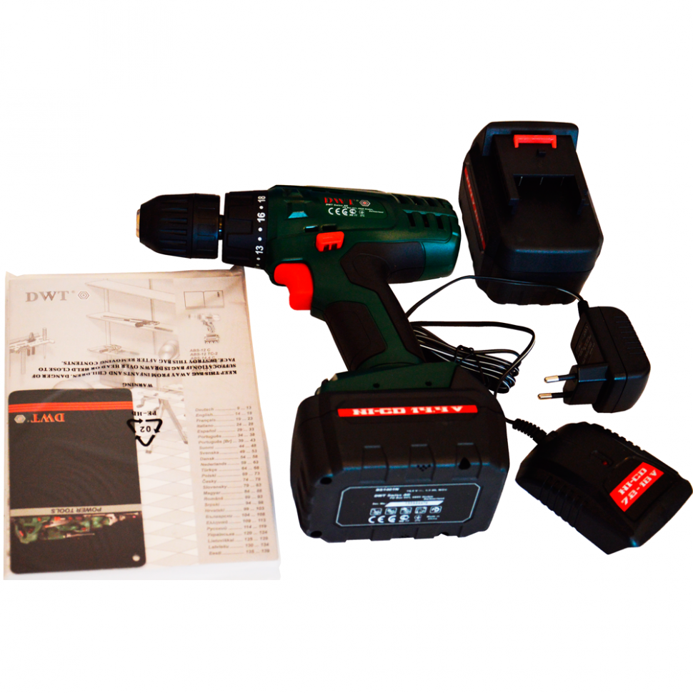 Дрель шуруповерт аккумуляторная DWT ABS-14.4 С-2 (1,5 А/ч,14,4 В)
